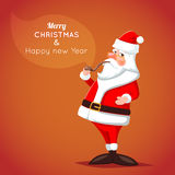 Cartoon Santa Claus Character Icon on Stylish Stock Image