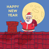 Cartoon Santa Claus Character standing on roof. Vector Royalty Free Stock Images