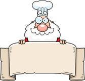 Cartoon Santa Claus Chef Banner Stock Image