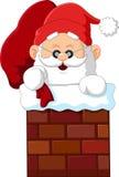 Cartoon santa claus in chimney Stock Photography