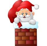 Cartoon santa claus in chimney Stock Photo