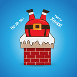 Cartoon Santa Claus in chimney Stock Images