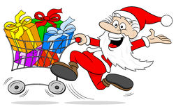 Cartoon santa claus at christmas shopping Stock Image