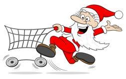 Cartoon santa claus at christmas shopping Royalty Free Stock Photography