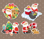 Cartoon santa claus Christmas stickers Stock Photos