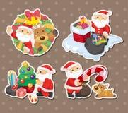 Cartoon santa claus Christmas stickers. Cartoon vector illustration Stock Photos