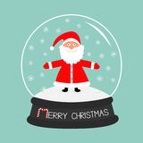 Cartoon Santa Claus Crystal ball with snowflakes. Blue background. Stick candy cane Merry Christmas card Flat design Stock Photos
