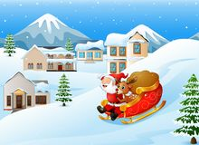 Cartoon santa claus with deer riding on a sleigh with bag of gifts Royalty Free Stock Image