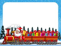Cartoon Santa Claus Delivering gifts driving steam locomotive horizontal frame Stock Image