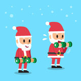 Cartoon santa claus doing dumbbell bicep curls step training. S for design Royalty Free Stock Photo