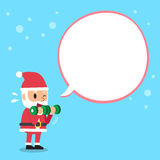 Cartoon santa claus doing dumbbell bicep curls training with speech bubble. For design Stock Images