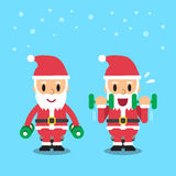 Cartoon santa claus doing dumbbell curl exercise. For design Stock Photography