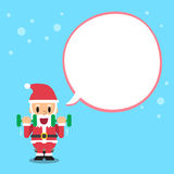 Cartoon santa claus doing dumbbell curl exercise with white speech bubble. For design Royalty Free Stock Photos