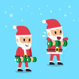 Cartoon santa claus doing dumbbell upright row exercise step training Royalty Free Stock Images