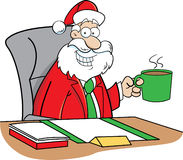 Cartoon Santa Claus drinking coffee Stock Image
