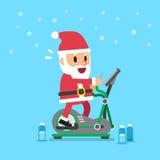 Cartoon santa claus exercising on elliptical machine. For design vector illustration