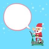 Cartoon santa claus exercising on elliptical machine white speech bubble. For design stock illustration