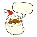 Cartoon santa claus face with speech bubble Stock Images