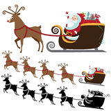 Cartoon Santa Claus with flying reindeer collection Stock Photo