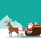 Cartoon Santa Claus with flying reindeer scene Stock Photography