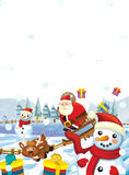 Cartoon santa claus flying with the sack full of presents - gifts - happy reindeer - illustration for children - christmas design Stock Image
