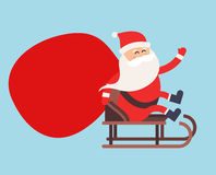 Cartoon Santa Claus gift sack delivery Stock Photo