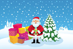Cartoon Santa Claus with gifts Stock Image