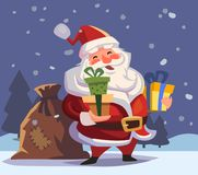 Cartoon Santa Claus with gifts in hands. Marry christmas vector illustration Stock Photography