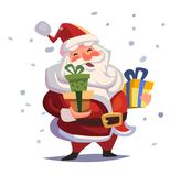 Cartoon Santa Claus with gifts in hands. Marry christmas vector illustration Stock Image