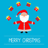 Cartoon Santa Claus and gifts. Merry Christmas card. Stock Photo