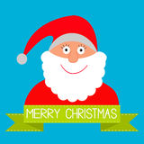 Cartoon Santa Claus and green ribbon with dash line. Merry Chris. Tmas card. Vector illustration Stock Images