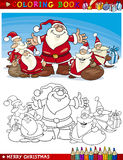 Cartoon Santa Claus Group for Coloring Royalty Free Stock Photos