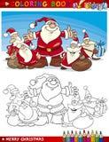 Cartoon Santa Claus Group for Coloring Royalty Free Stock Photos