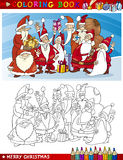 Cartoon Santa Claus Group for Coloring Royalty Free Stock Photography