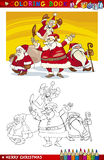 Cartoon Santa Claus Group for Coloring Royalty Free Stock Image