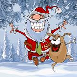 Cartoon Santa Claus happily bounces along with a dog in winter forest