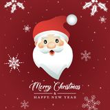 Cartoon Santa Claus Head, Cristmas card Royalty Free Stock Photos