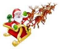 Santa Claus Christmas Reindeer and Sled Sleigh vector illustration