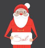 Cartoon Santa Claus hold banner with Sale message Royalty Free Stock Photography