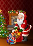 Cartoon Santa Claus holding bag of presents royalty free illustration