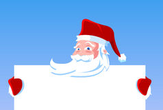 Cartoon Santa Claus holding blank banner Stock Photography
