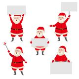 Cartoon Santa Claus holding blank, empty poster Stock Photos