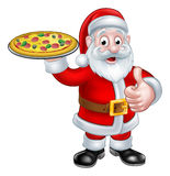 Cartoon Santa Claus Holding Pizza Royalty Free Stock Photo