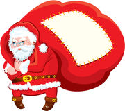 Cartoon Santa Claus with huge sack full of gifts - Stock Images