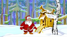 Cartoon Santa Claus jumping happily in the winter forest with a hut. Cartoon Santa Claus jumping happily in the winter forest with hut stock video footage