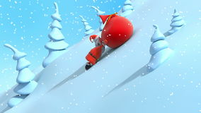 Cartoon Santa Claus are lifting uphill and drags big red bag with gifts