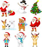 Cartoon Santa Claus with many animals collection set vector illustration