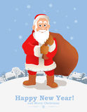 Cartoon Santa Claus New Year greeting card Royalty Free Stock Images