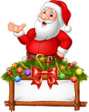 Cartoon Santa Claus posing with decorated banner stock illustration