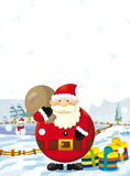 Cartoon santa claus with presents standing and smiling - gifts - happy snowman - christmas design Royalty Free Stock Images